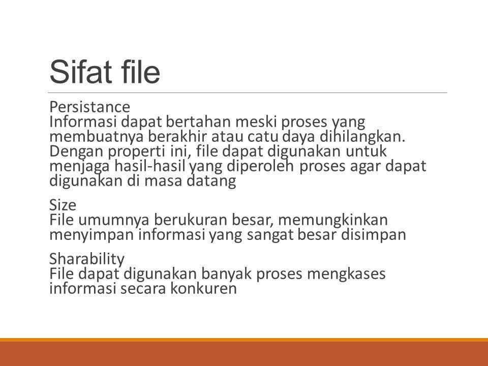 Sasaran sistem manajamen file Pengelolaan file adalah kumpulan perangkat lunak sistem yang menyediakan layanan-layanan berhubungan dengan penggunaan file ke pemakai dan/atau aplikasi Memenuhi kebutuhan manajemen data bagi pemakai Menjamin data pada file adalah sah (valid) Optimasi kinerja Menyediakan dukungan masukan/keluaran beragam tipe perangkat penyimpanan Meminimalkan atau mengeliminasi potensi kehilangan atau kerusakan data Menyediakan sekumpulan rutin antarmuka masukan/keluaran Menyediakan dukungan masukan/keluaran banyak pemakai di sistem multiuser