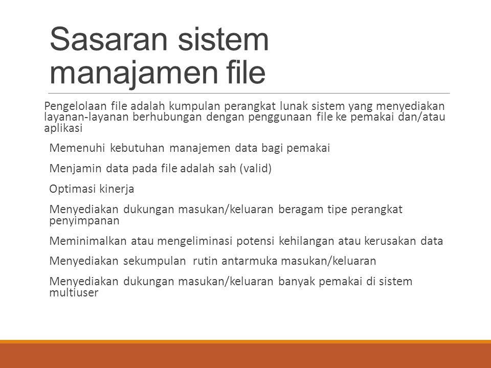 Sasaran sistem manajamen file Pengelolaan file adalah kumpulan perangkat lunak sistem yang menyediakan layanan-layanan berhubungan dengan penggunaan f