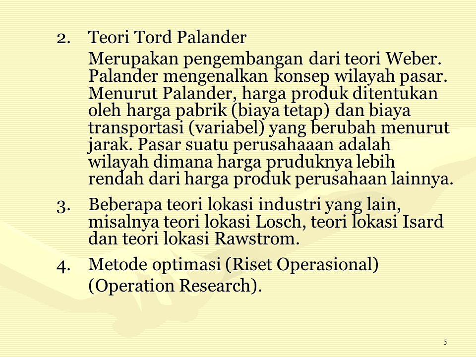 5 2.Teori Tord Palander Merupakan pengembangan dari teori Weber. Palander mengenalkan konsep wilayah pasar. Menurut Palander, harga produk ditentukan