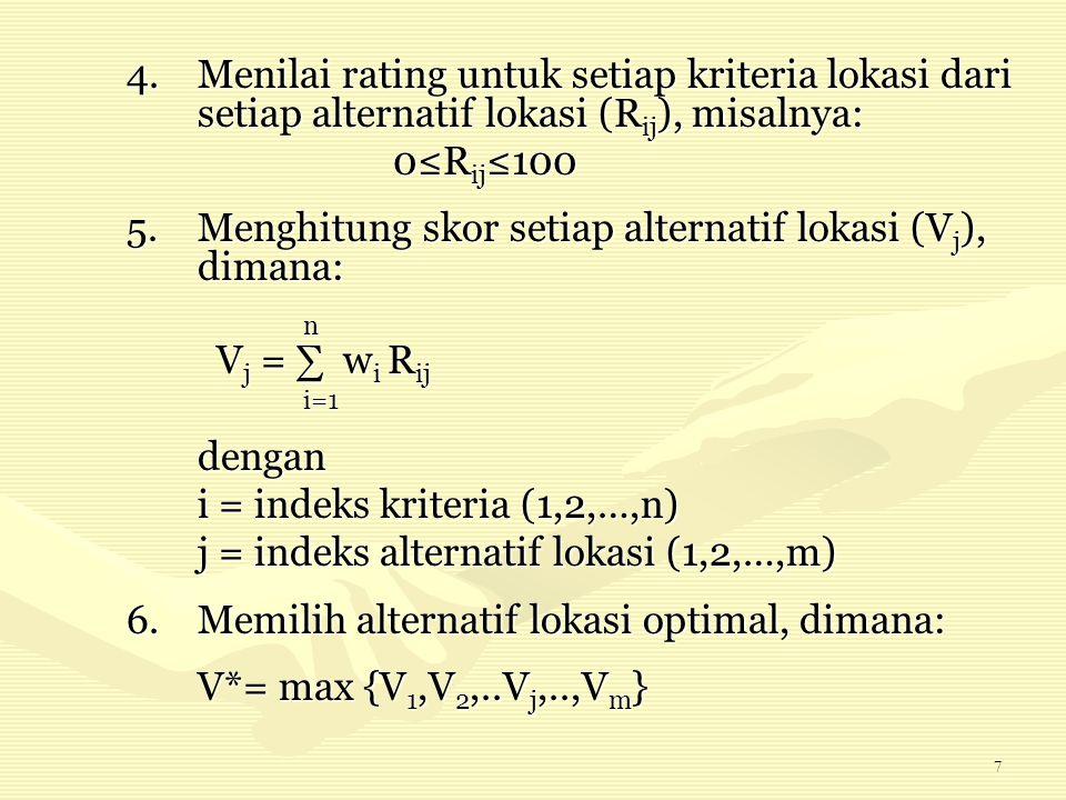 7 4.Menilai rating untuk setiap kriteria lokasi dari setiap alternatif lokasi (R ij ), misalnya: 0≤R ij ≤100 5.Menghitung skor setiap alternatif lokas