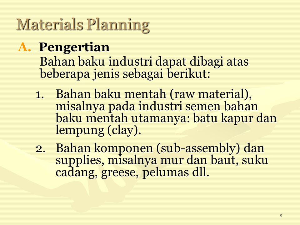 8 Materials Planning A.Pengertian 1.Bahan baku mentah (raw material), misalnya pada industri semen bahan baku mentah utamanya: batu kapur dan lempung