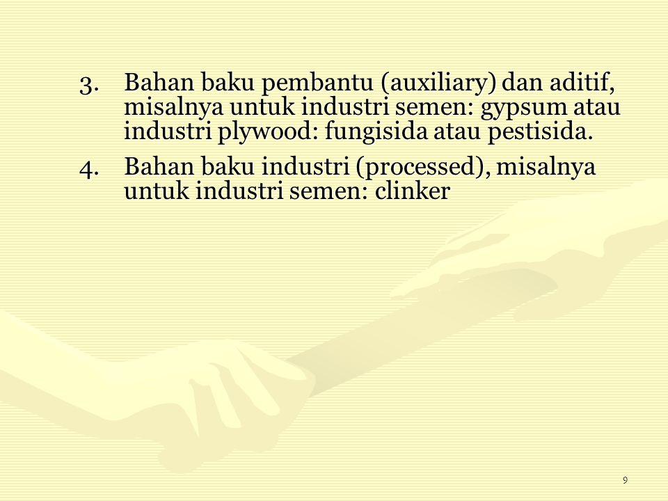 9 3.Bahan baku pembantu (auxiliary) dan aditif, misalnya untuk industri semen: gypsum atau industri plywood: fungisida atau pestisida. 4.Bahan baku in