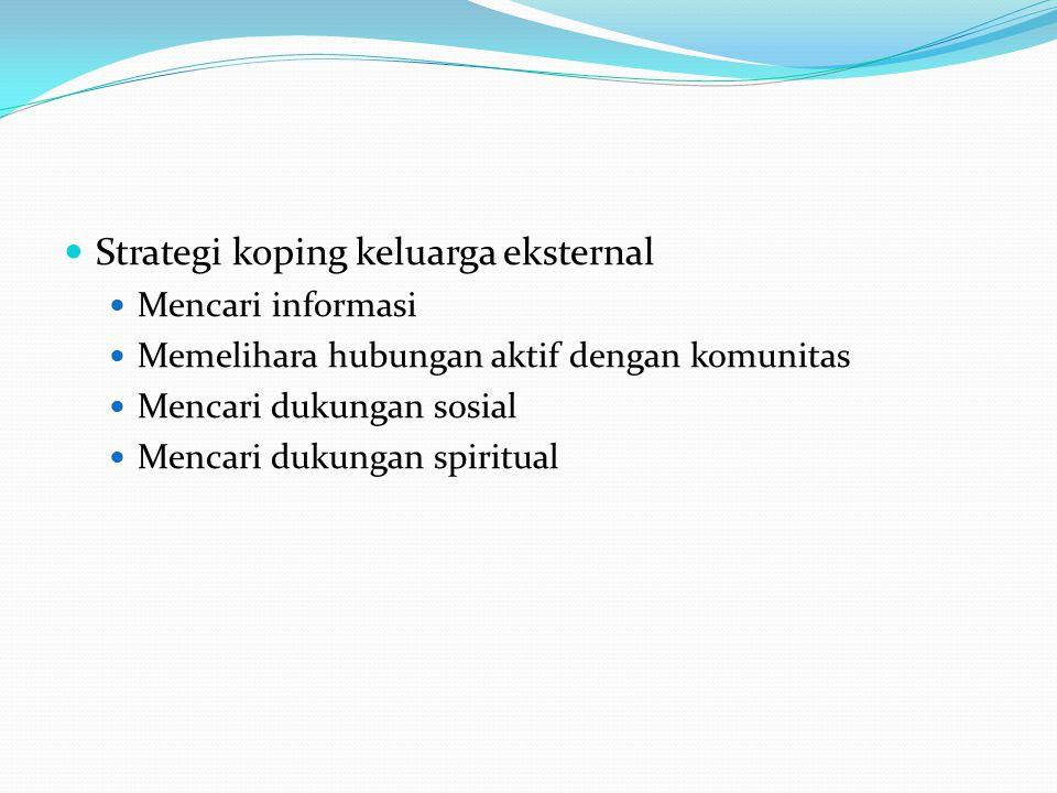 Strategi koping keluarga eksternal Mencari informasi Memelihara hubungan aktif dengan komunitas Mencari dukungan sosial Mencari dukungan spiritual