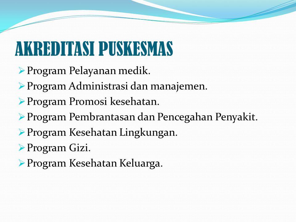 AKREDITASI PUSKESMAS  Program Pelayanan medik.  Program Administrasi dan manajemen.  Program Promosi kesehatan.  Program Pembrantasan dan Pencegah