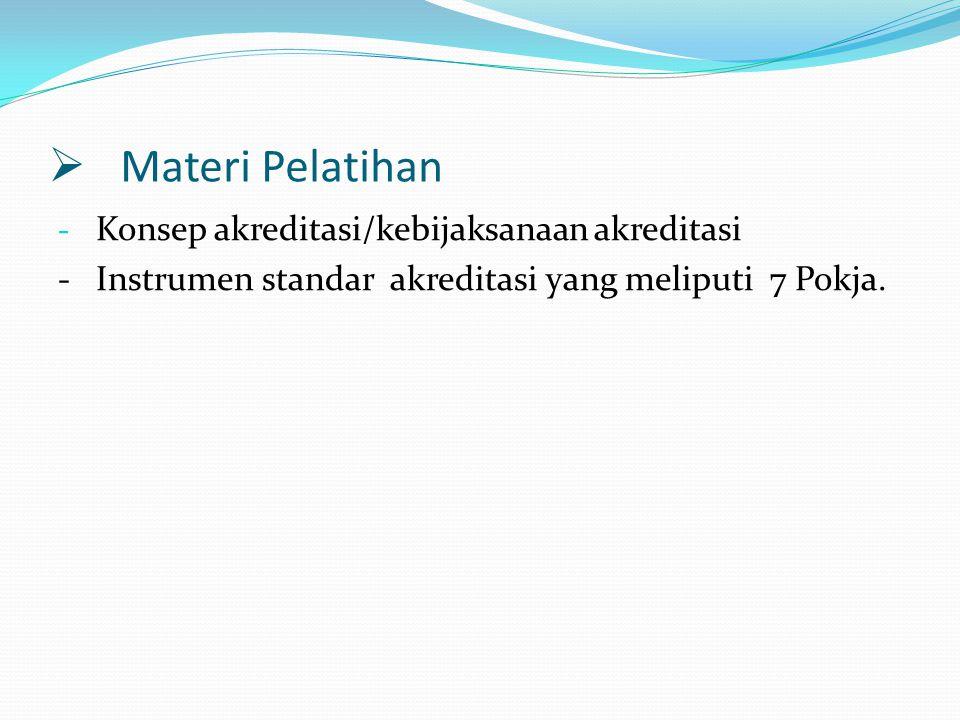  Materi Pelatihan - Konsep akreditasi/kebijaksanaan akreditasi - Instrumen standar akreditasi yang meliputi 7 Pokja.