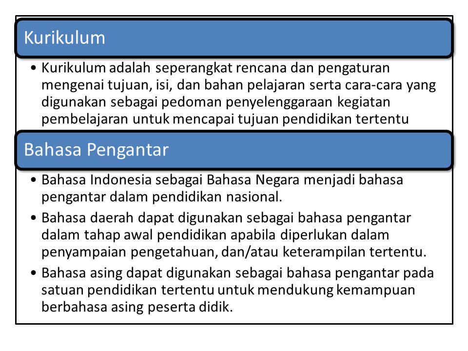 Kurikulum Kurikulum adalah seperangkat rencana dan pengaturan mengenai tujuan, isi, dan bahan pelajaran serta cara-cara yang digunakan sebagai pedoman penyelenggaraan kegiatan pembelajaran untuk mencapai tujuan pendidikan tertentu Bahasa Pengantar Bahasa Indonesia sebagai Bahasa Negara menjadi bahasa pengantar dalam pendidikan nasional.