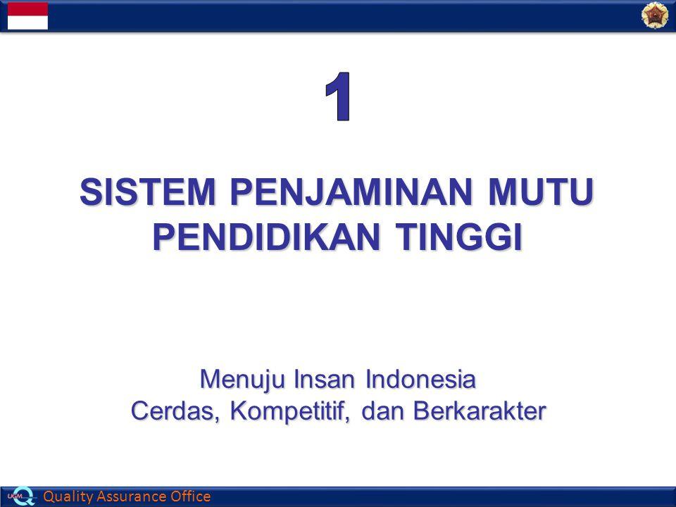 Quality Assurance Office SISTEM PENJAMINAN MUTU PENDIDIKAN TINGGI Menuju Insan Indonesia Cerdas, Kompetitif, dan Berkarakter