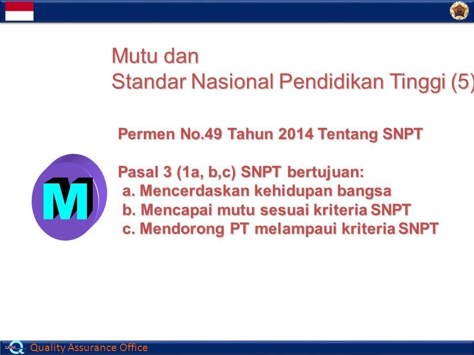 Quality Assurance Office Mutu dan Standar Nasional Pendidikan Tinggi (5) Permen No.49 Tahun 2014 Tentang SNPT Pasal 3 (1a, b,c) SNPT bertujuan: a. Men