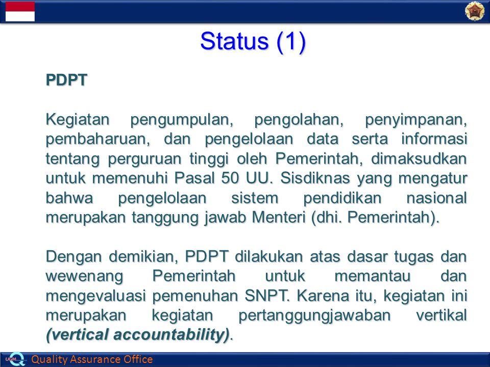 Quality Assurance Office Status (1) PDPT Kegiatan pengumpulan, pengolahan, penyimpanan, pembaharuan, dan pengelolaan data serta informasi tentang perg