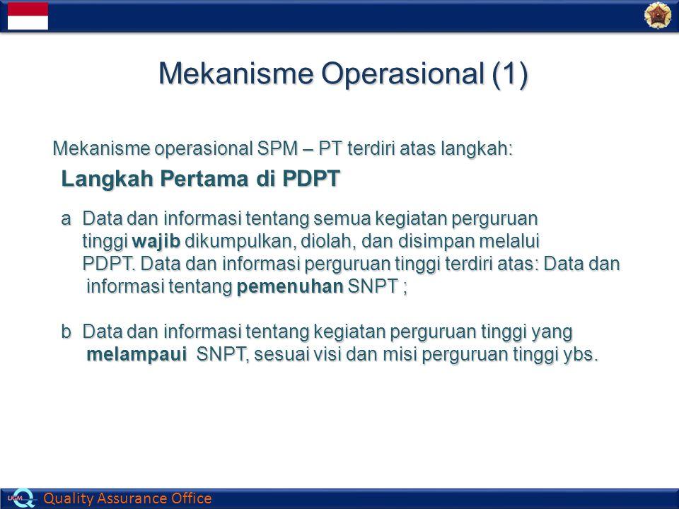 Quality Assurance Office Mekanisme Operasional (1) Mekanisme operasional SPM – PT terdiri atas langkah: Langkah Pertama di PDPT a Data dan informasi t