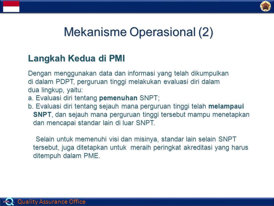 Quality Assurance Office Mekanisme Operasional (2) Langkah Kedua di PMI Dengan menggunakan data dan informasi yang telah dikumpulkan di dalam PDPT, pe