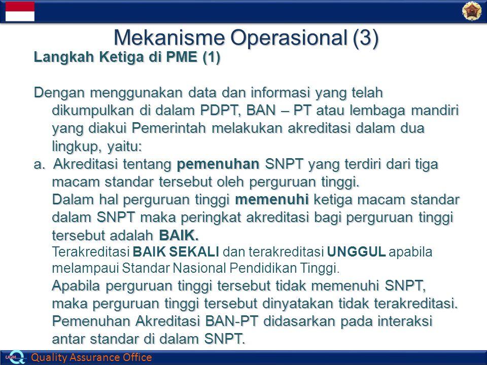 Quality Assurance Office Mekanisme Operasional (3) Langkah Ketiga di PME (1) Dengan menggunakan data dan informasi yang telah dikumpulkan di dalam PDP
