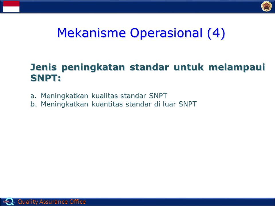 Quality Assurance Office Jenis peningkatan standar untuk melampaui SNPT: a.Meningkatkan kualitas standar SNPT b.Meningkatkan kuantitas standar di luar