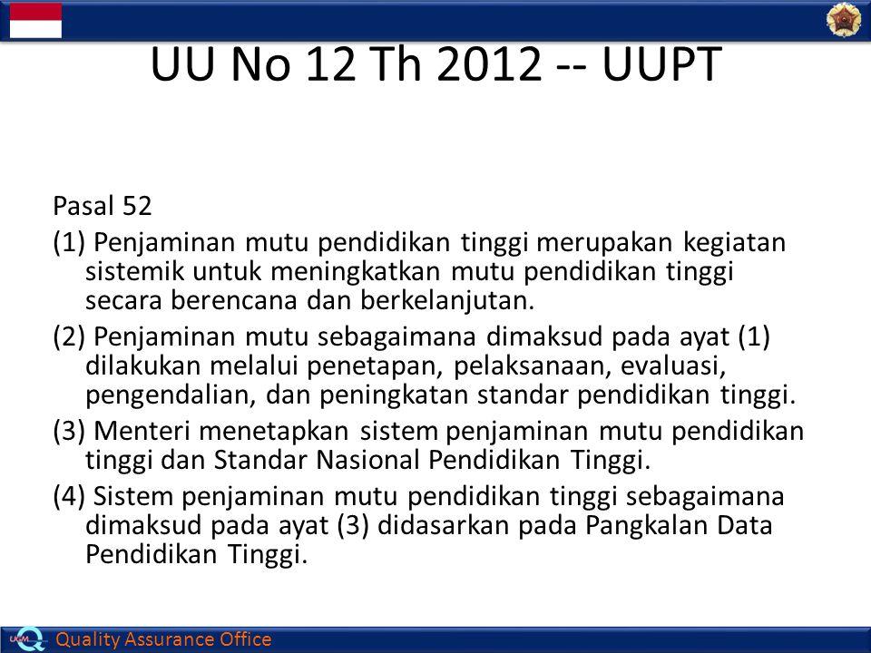 Quality Assurance Office UU No 12 Th 2012 -- UUPT Pasal 52 (1) Penjaminan mutu pendidikan tinggi merupakan kegiatan sistemik untuk meningkatkan mutu p