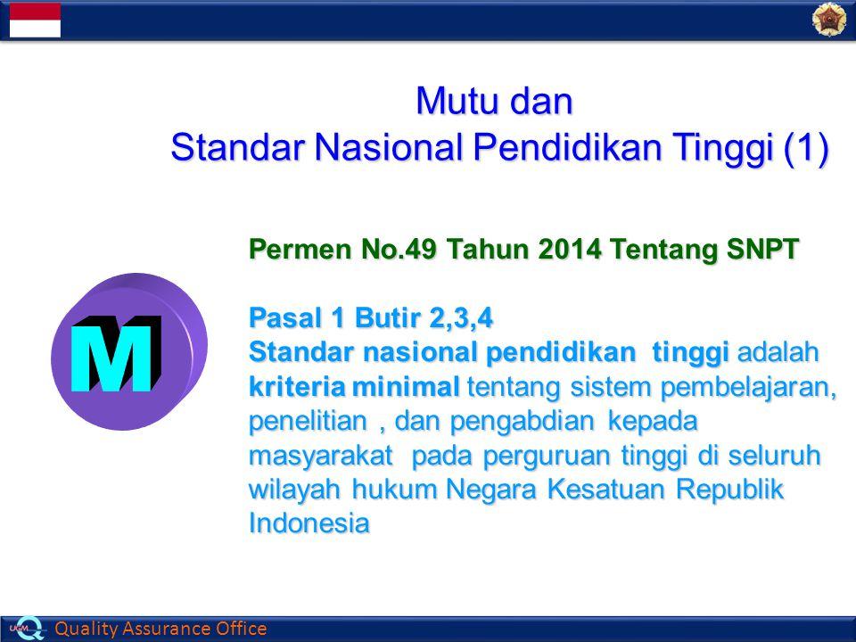 Quality Assurance Office Mutu dan Standar Nasional Pendidikan Tinggi (1) Permen No.49 Tahun 2014 Tentang SNPT Pasal 1 Butir 2,3,4 Standar nasional pen