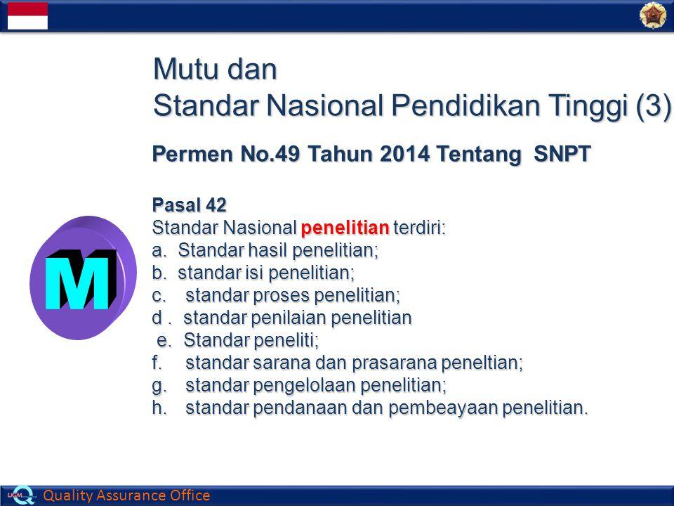 Quality Assurance Office Mutu dan Standar Nasional Pendidikan Tinggi (3) Permen No.49 Tahun 2014 Tentang SNPT Pasal 42 Standar Nasional penelitian ter