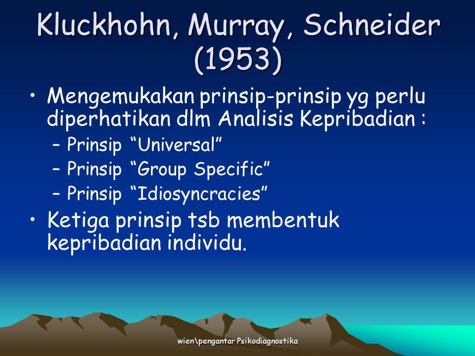 wien\pengantar Psikodiagnostika Kluckhohn, Murray, Schneider (1953) Mengemukakan prinsip-prinsip yg perlu diperhatikan dlm Analisis Kepribadian : –Pri