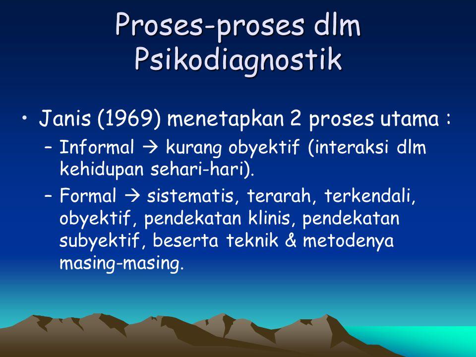Proses-proses dlm Psikodiagnostik Janis (1969) menetapkan 2 proses utama : –Informal  kurang obyektif (interaksi dlm kehidupan sehari-hari). –Formal
