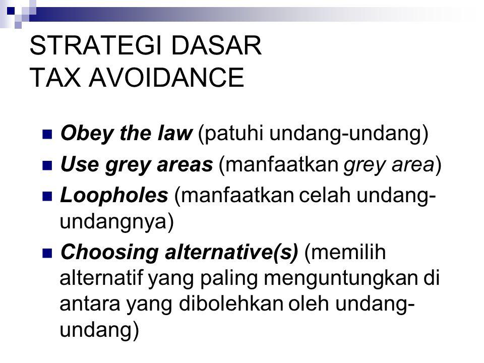 STRATEGI DASAR TAX AVOIDANCE Obey the law (patuhi undang-undang) Use grey areas (manfaatkan grey area) Loopholes (manfaatkan celah undang- undangnya) Choosing alternative(s) (memilih alternatif yang paling menguntungkan di antara yang dibolehkan oleh undang- undang)