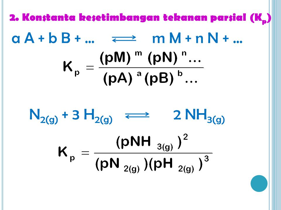 2. Konstanta kesetimbangan tekanan parsial (K p ) a A + b B +...