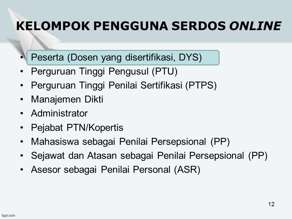 KELOMPOK PENGGUNA SERDOS ONLINE Peserta (Dosen yang disertifikasi, DYS) Perguruan Tinggi Pengusul (PTU) Perguruan Tinggi Penilai Sertifikasi (PTPS) Manajemen Dikti Administrator Pejabat PTN/Kopertis Mahasiswa sebagai Penilai Persepsional (PP) Sejawat dan Atasan sebagai Penilai Persepsional (PP) Asesor sebagai Penilai Personal (ASR) 12