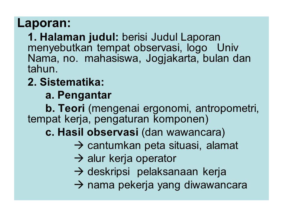 Laporan: 1. Halaman judul: berisi Judul Laporan menyebutkan tempat observasi, logo Univ Nama, no. mahasiswa, Jogjakarta, bulan dan tahun. 2. Sistemati