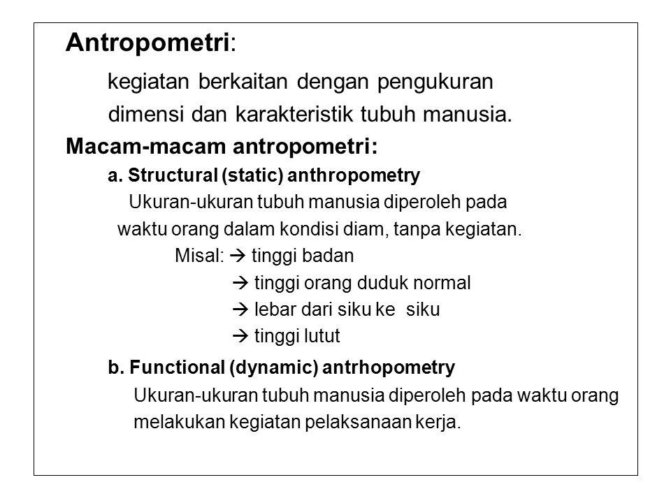 Antropometri: kegiatan berkaitan dengan pengukuran dimensi dan karakteristik tubuh manusia. Macam-macam antropometri: a. Structural (static) anthropom