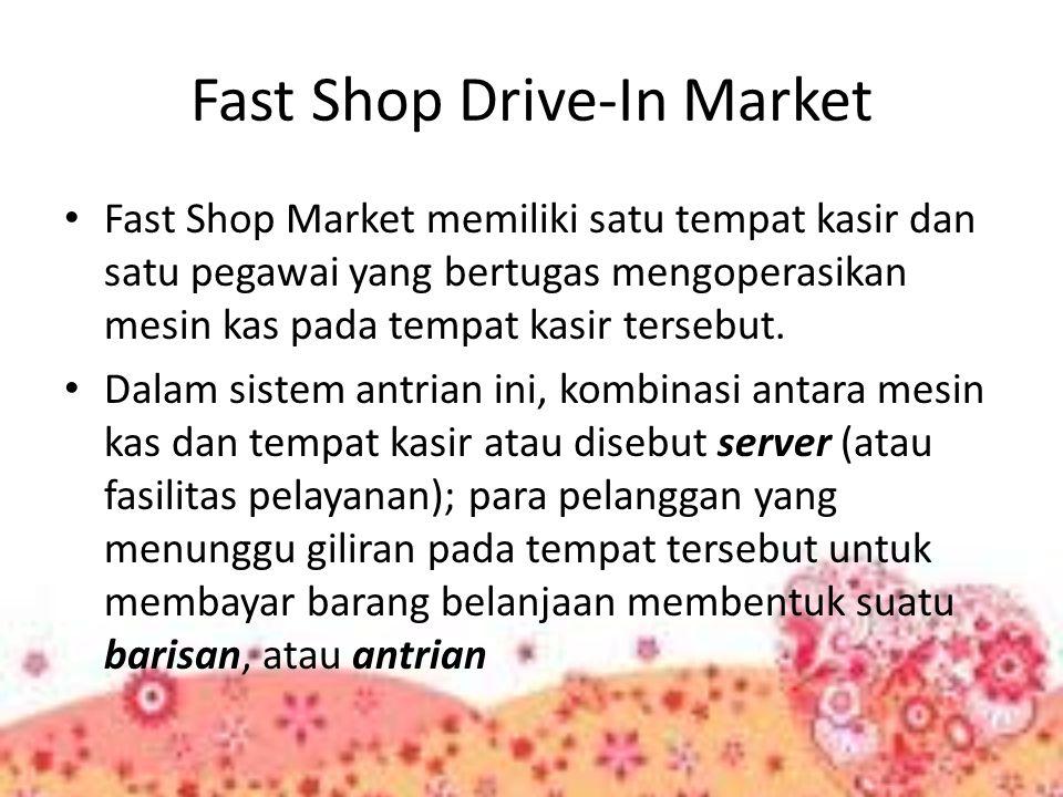 Fast Shop Drive-In Market Fast Shop Market memiliki satu tempat kasir dan satu pegawai yang bertugas mengoperasikan mesin kas pada tempat kasir terseb