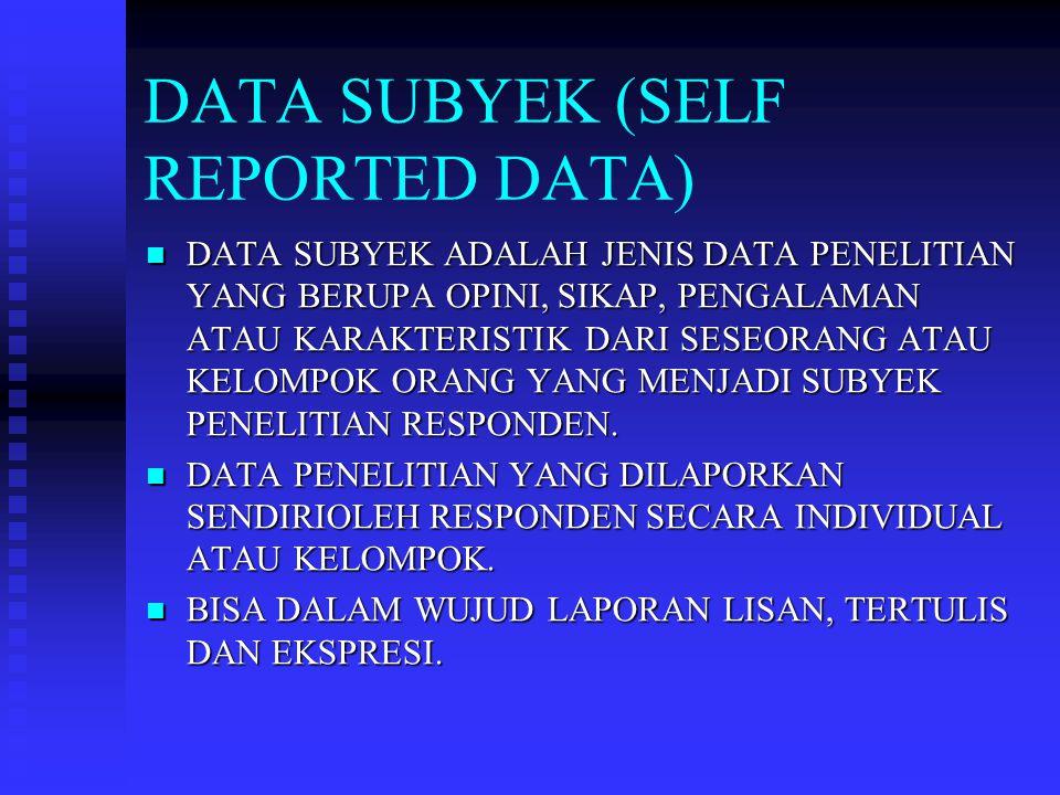 DATA FISIK MERUPAKAN JENIS DATA PENELITIAN YANG BERUPA OBYEK ATAU BENDA-BENDA FISIK, BANGUNAN, BUKU, SENJATA… MERUPAKAN JENIS DATA PENELITIAN YANG BERUPA OBYEK ATAU BENDA-BENDA FISIK, BANGUNAN, BUKU, SENJATA… DATA FISIK DALAM PENELITIAN BISNIS DIKUMPULKAN DARI METODE OBSERVASI.