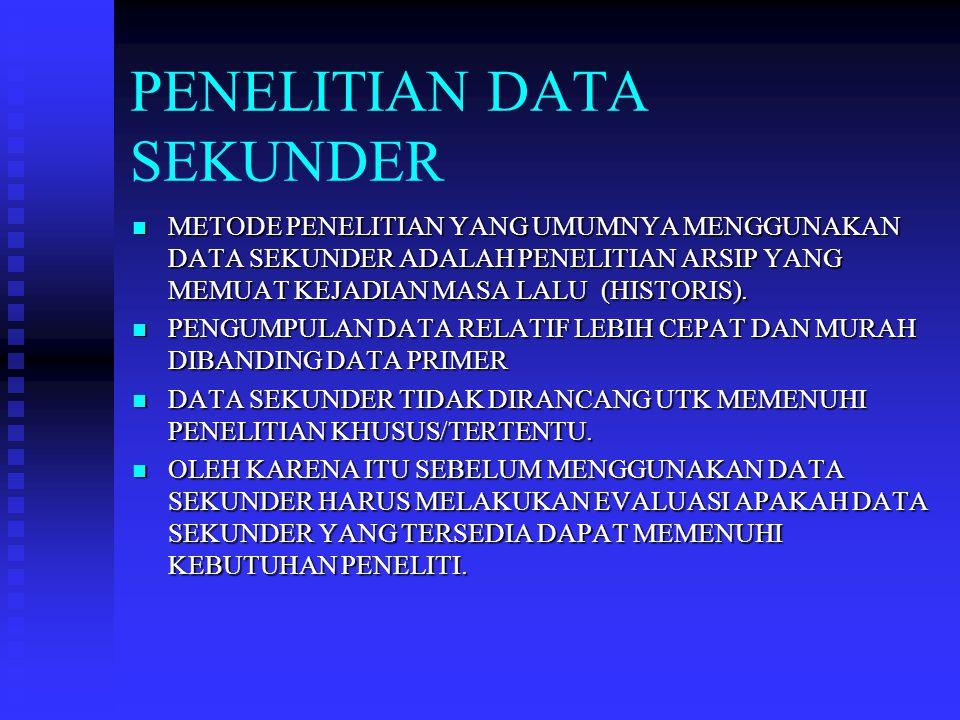ASPEK DATA SEKUNDER YANG HARUS DIEVALUASI PENELITI 1.