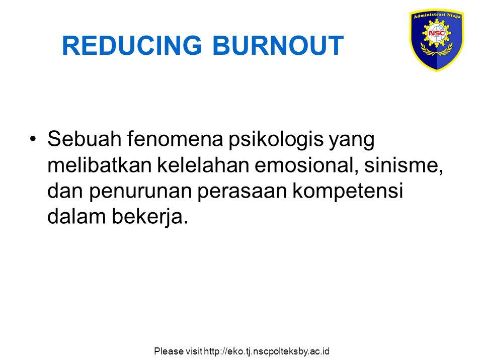 Please visit http://eko.tj.nscpolteksby.ac.id REDUCING BURNOUT Sebuah fenomena psikologis yang melibatkan kelelahan emosional, sinisme, dan penurunan