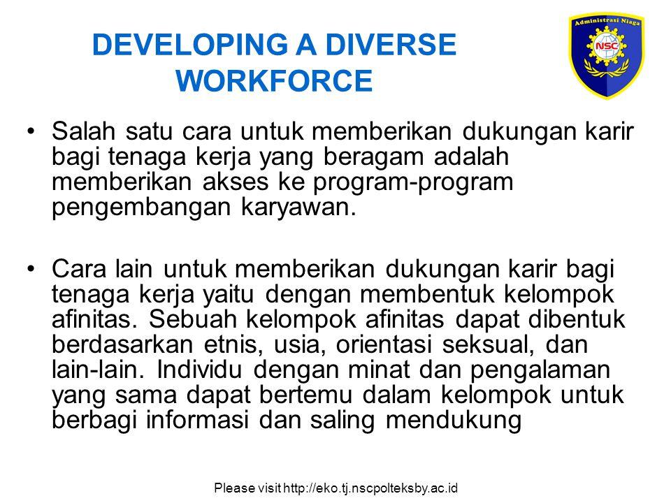 Please visit http://eko.tj.nscpolteksby.ac.id DEVELOPING A DIVERSE WORKFORCE Salah satu cara untuk memberikan dukungan karir bagi tenaga kerja yang be