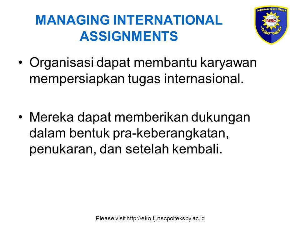 Please visit http://eko.tj.nscpolteksby.ac.id MANAGING INTERNATIONAL ASSIGNMENTS Organisasi dapat membantu karyawan mempersiapkan tugas internasional.
