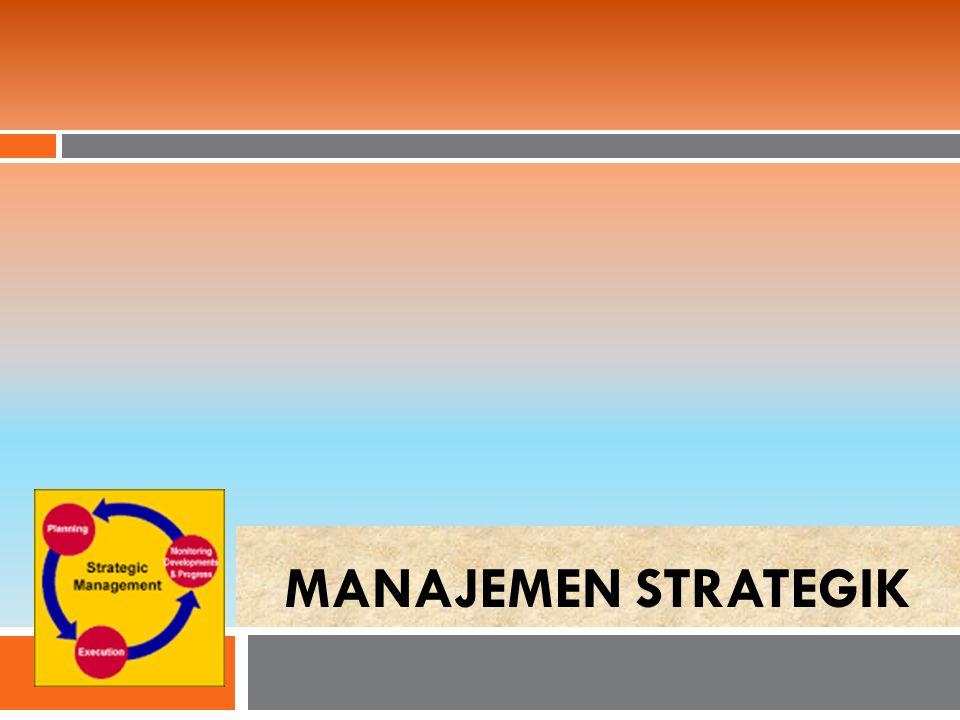 Komposisi Manajemen Strategik  Analisis Lingkungan  Memformulasikan Strategi  Mengimplementasikan Strategi  Evaluasi dan Pengendalian