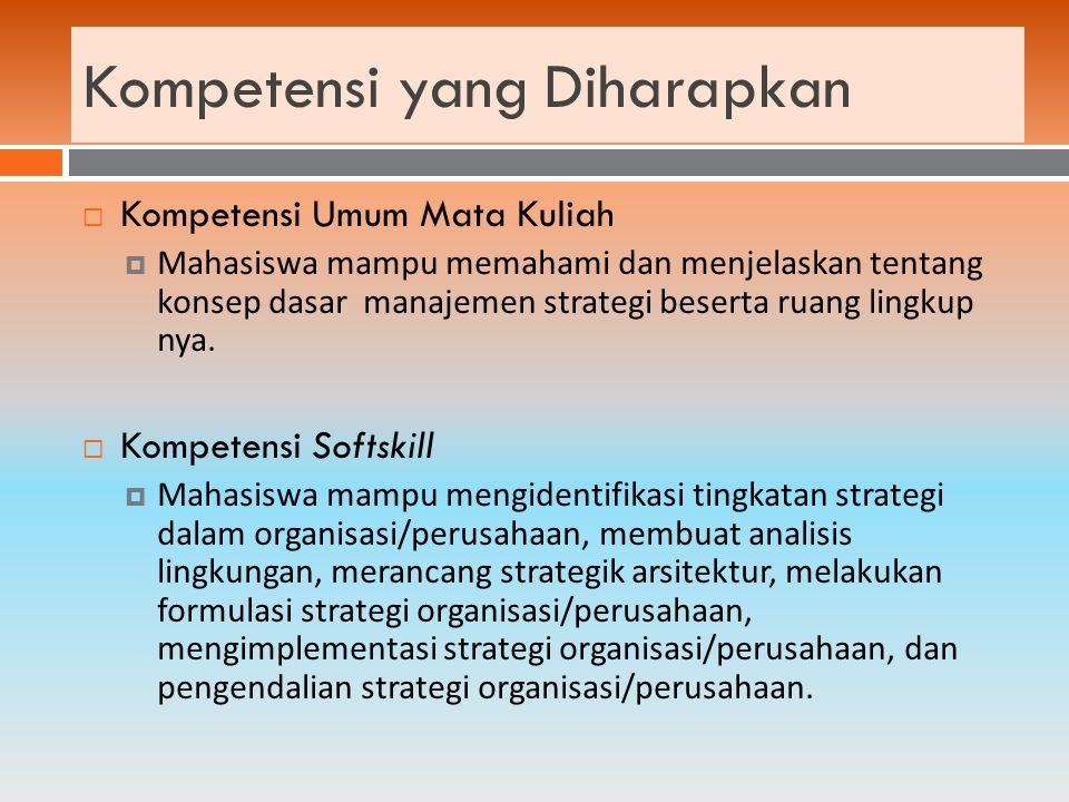 MingguMateri 1 Konsep Dasar Manajemen Strategik 2 Analisis Lingkungan 3Menentukan dan menetapkan arah perusahaan 4Formulasi Strategi (alat-alat manajemen strategi) 5Formulasi Strategi 6Implementasi Strategi 7Evaluasi dan Pengendalian Strategi 8Studi Kasus