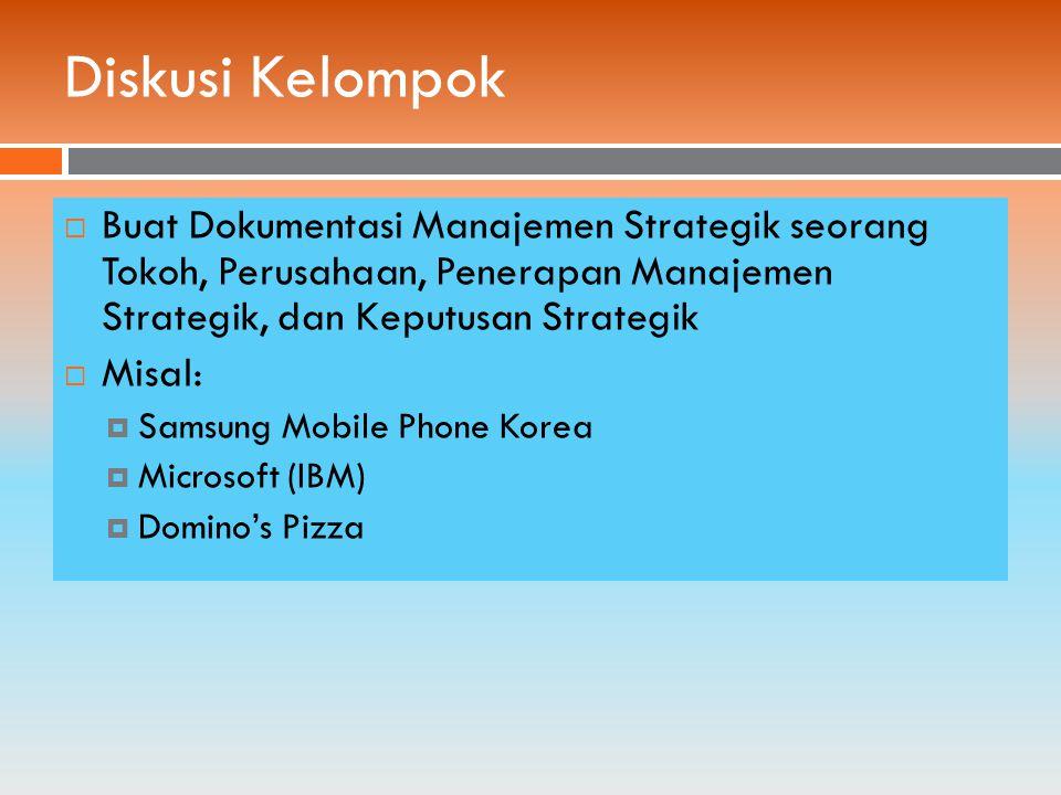 Diskusi Kelompok  Buat Dokumentasi Manajemen Strategik seorang Tokoh, Perusahaan, Penerapan Manajemen Strategik, dan Keputusan Strategik  Misal:  Samsung Mobile Phone Korea  Microsoft (IBM)  Domino's Pizza