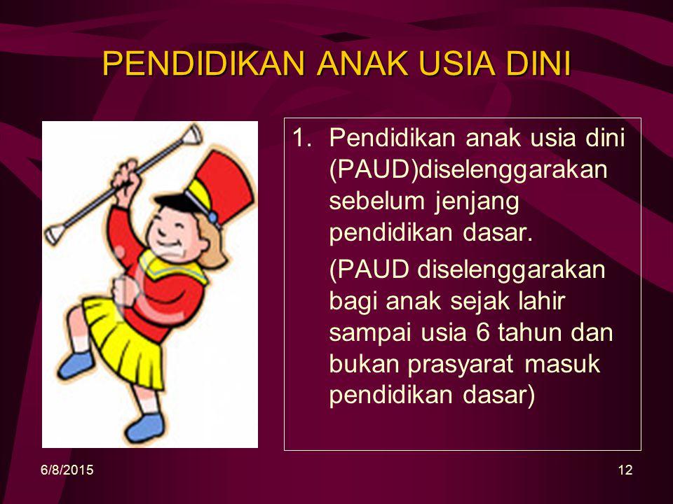 PENDIDIKAN ANAK USIA DINI 1.Pendidikan anak usia dini (PAUD)diselenggarakan sebelum jenjang pendidikan dasar.