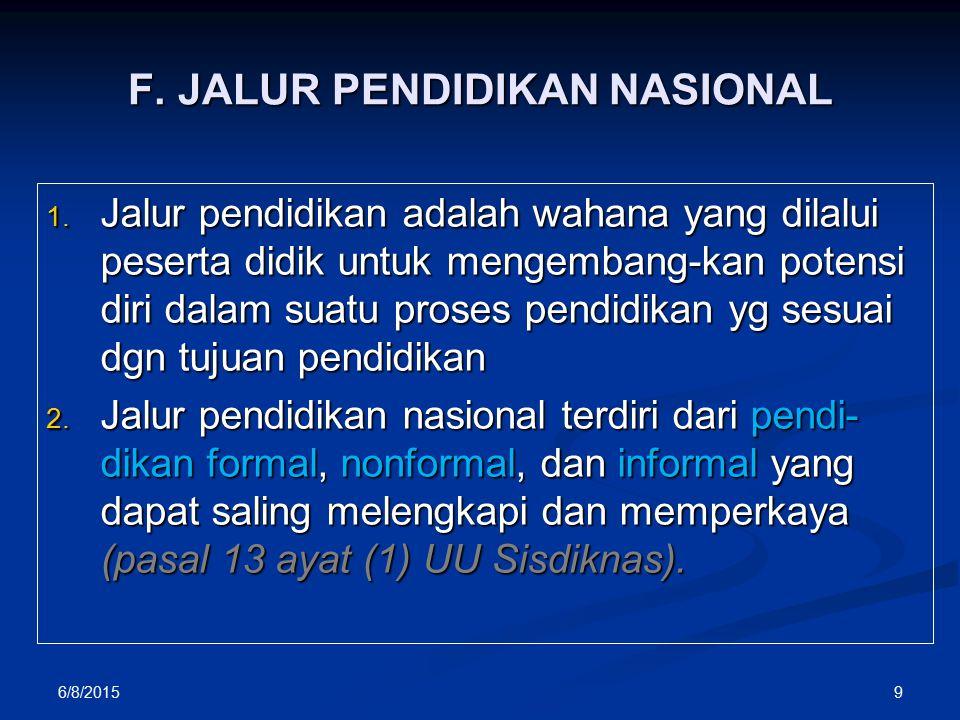 F.JALUR PENDIDIKAN NASIONAL 1.