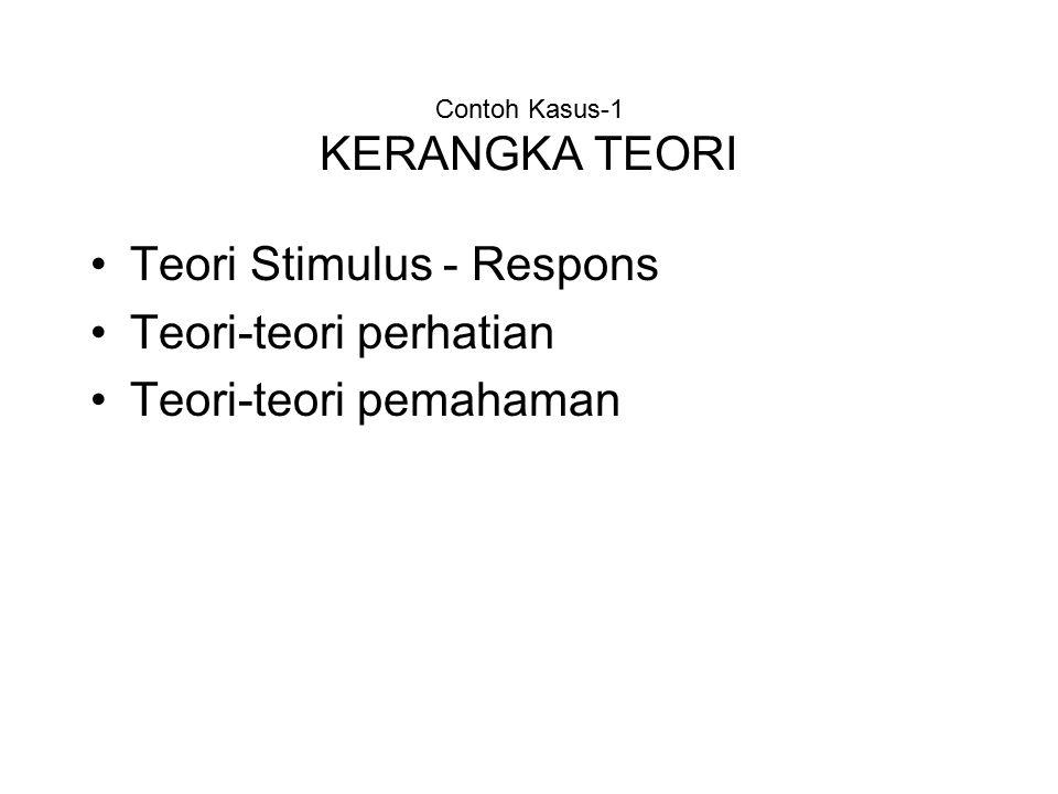 Contoh Kasus-1 KERANGKA TEORI Teori Stimulus - Respons Teori-teori perhatian Teori-teori pemahaman