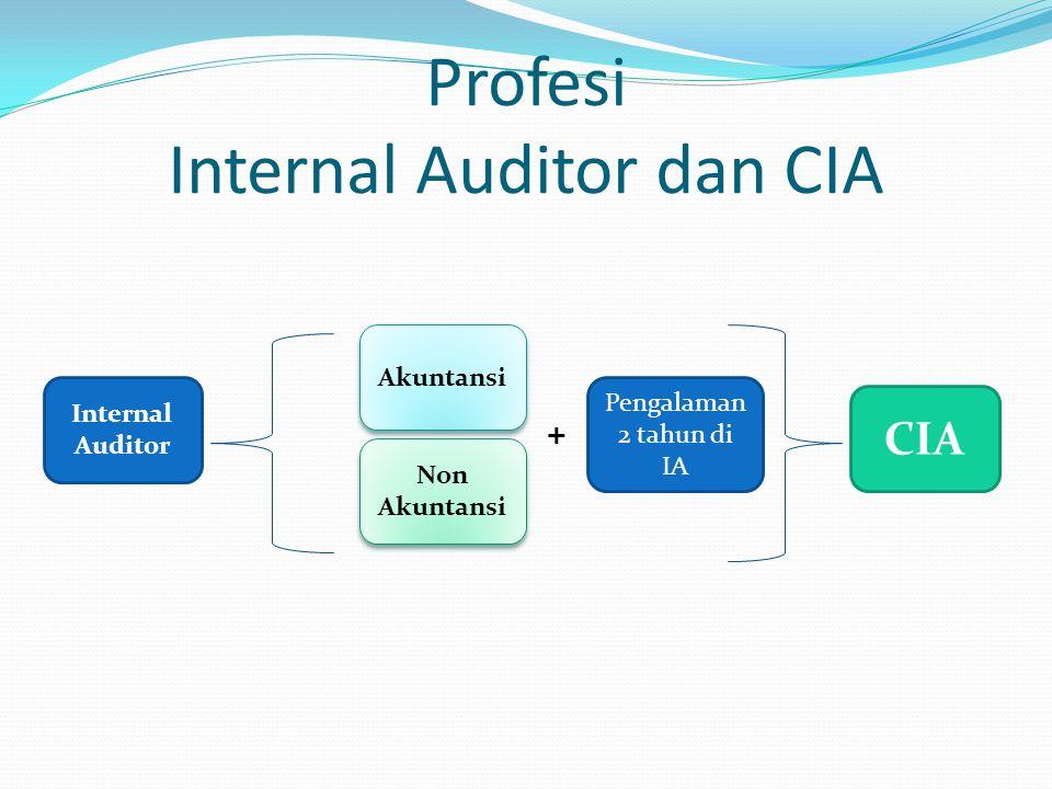 Profesi Internal Auditor dan CIA Internal Auditor Akuntansi Non Akuntansi CIA Pengalaman 2 tahun di IA +