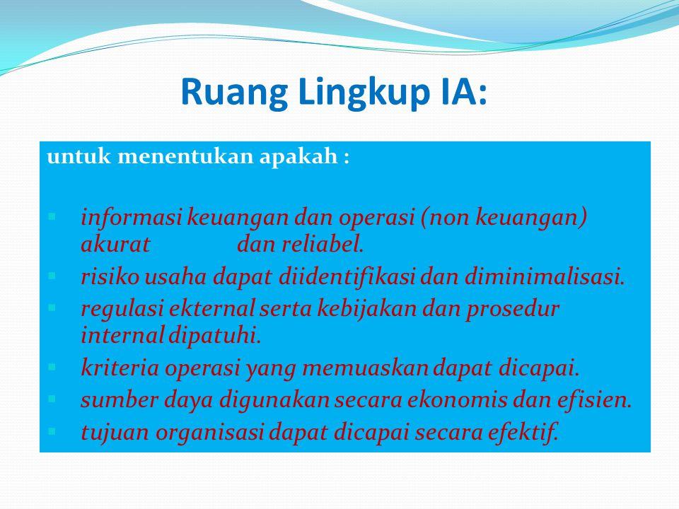 Ruang Lingkup IA: untuk menentukan apakah :  informasi keuangan dan operasi (non keuangan) akurat dan reliabel.  risiko usaha dapat diidentifikasi d