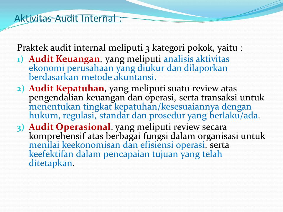 Aktivitas Audit Internal : Praktek audit internal meliputi 3 kategori pokok, yaitu : 1) Audit Keuangan, yang meliputi analisis aktivitas ekonomi perusahaan yang diukur dan dilaporkan berdasarkan metode akuntansi.