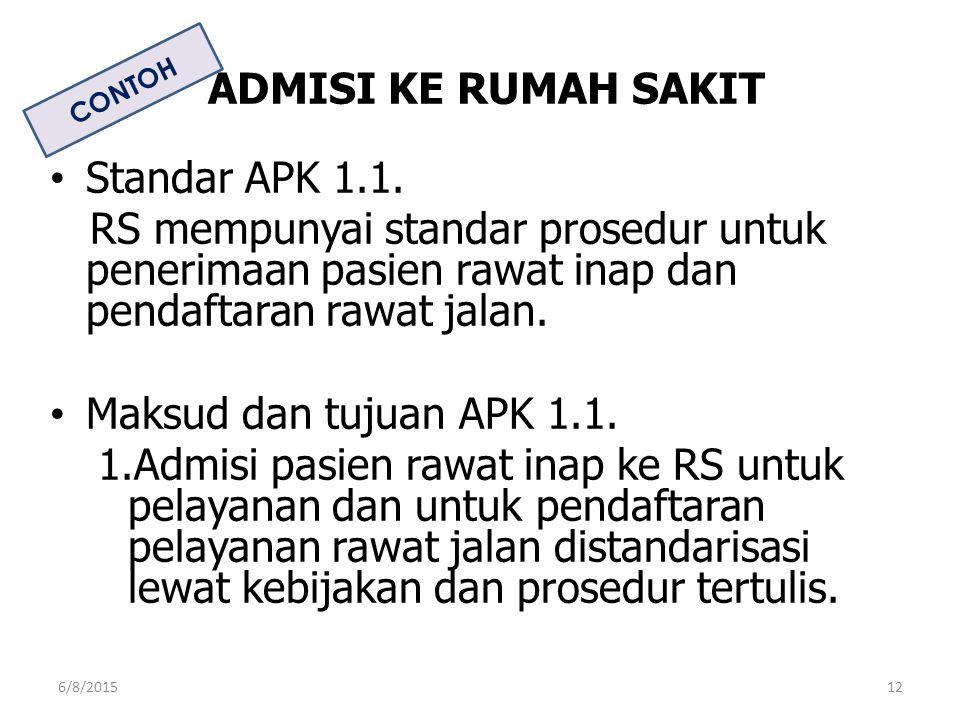 ADMISI KE RUMAH SAKIT Standar APK 1.1. RS mempunyai standar prosedur untuk penerimaan pasien rawat inap dan pendaftaran rawat jalan. Maksud dan tujuan