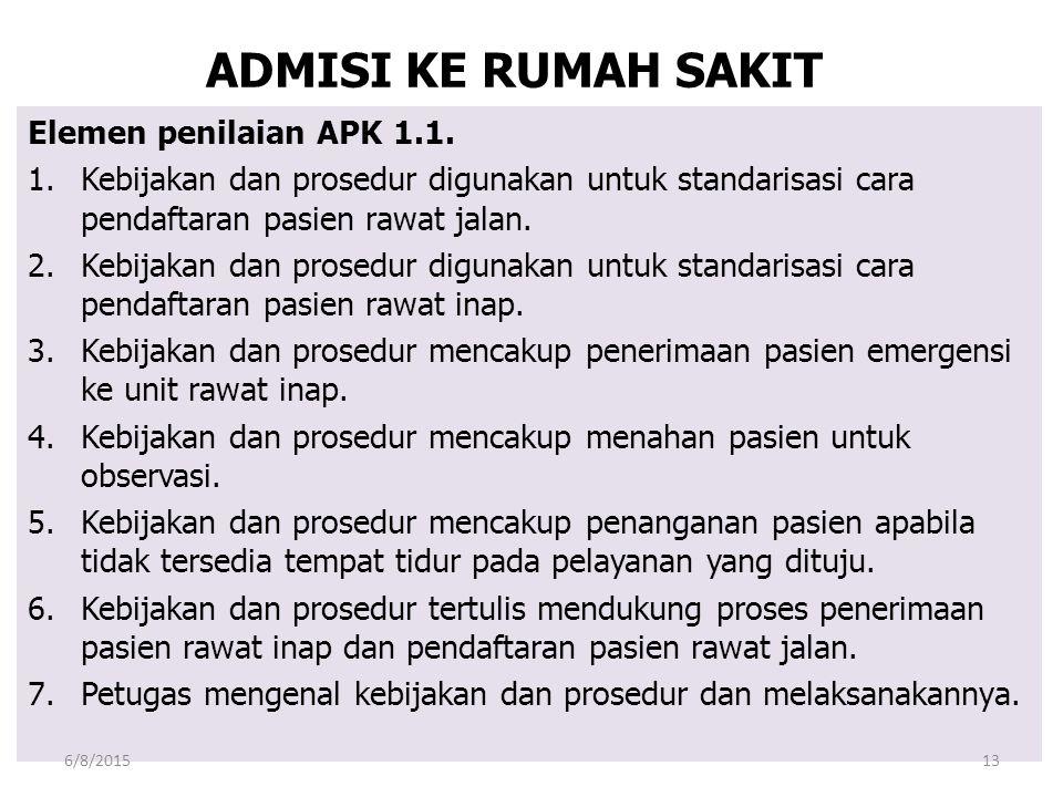ADMISI KE RUMAH SAKIT Elemen penilaian APK 1.1. 1.Kebijakan dan prosedur digunakan untuk standarisasi cara pendaftaran pasien rawat jalan. 2.Kebijakan