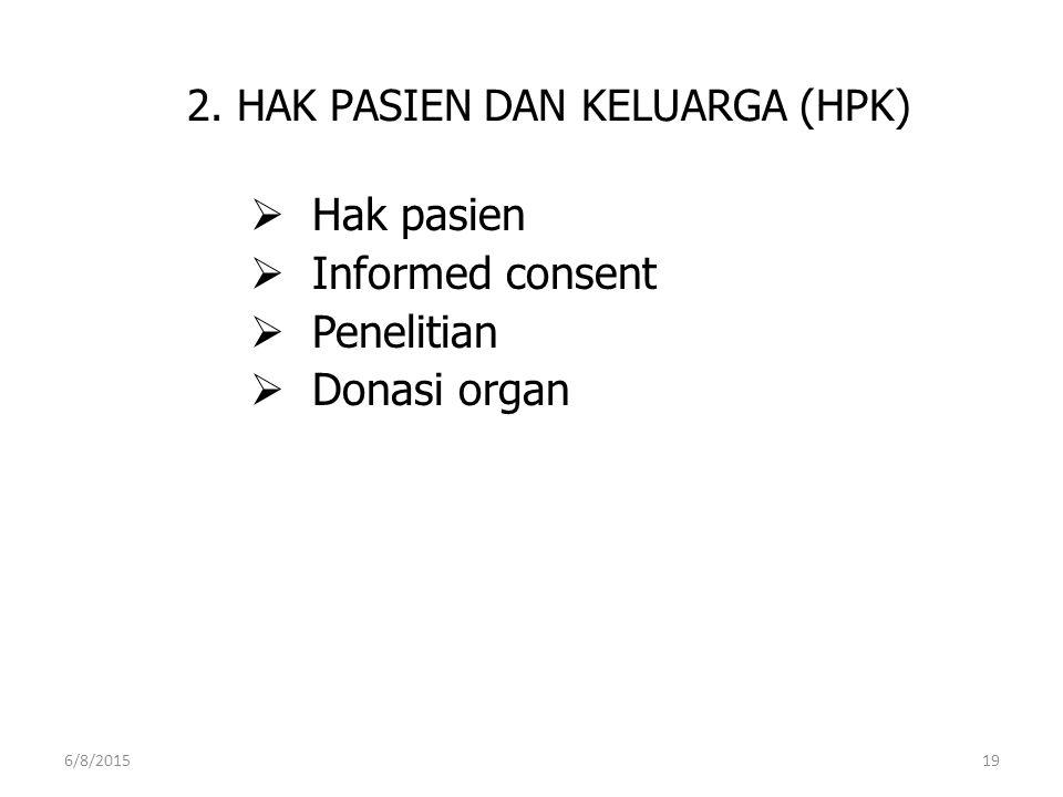 2. HAK PASIEN DAN KELUARGA (HPK)  Hak pasien  Informed consent  Penelitian  Donasi organ 6/8/201519