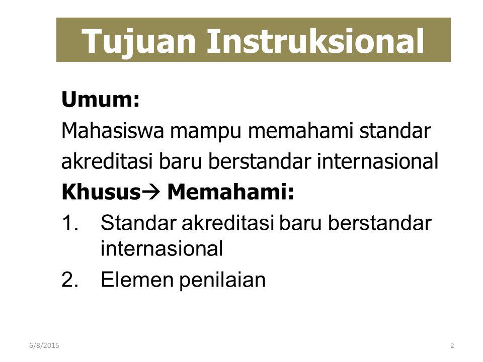 Tujuan Instruksional Umum: Mahasiswa mampu memahami standar akreditasi baru berstandar internasional Khusus  Memahami: 1.Standar akreditasi baru bers