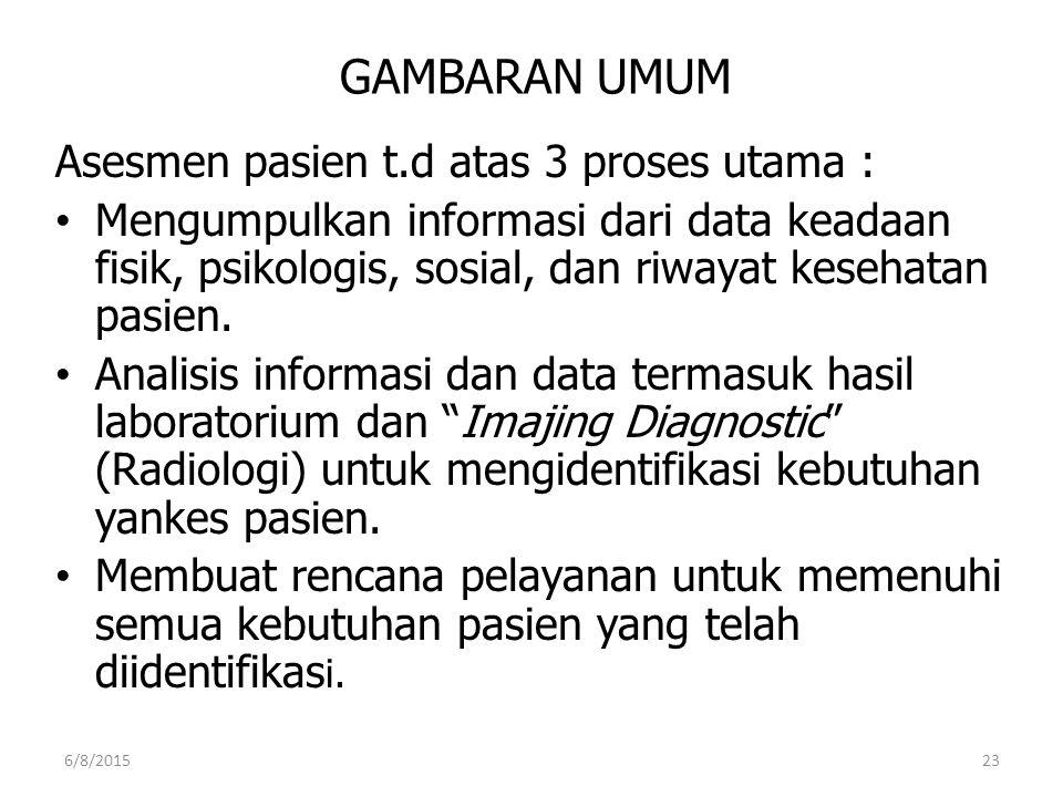 GAMBARAN UMUM Asesmen pasien t.d atas 3 proses utama : Mengumpulkan informasi dari data keadaan fisik, psikologis, sosial, dan riwayat kesehatan pasie