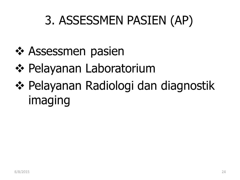 3. ASSESSMEN PASIEN (AP)  Assessmen pasien  Pelayanan Laboratorium  Pelayanan Radiologi dan diagnostik imaging 6/8/201524