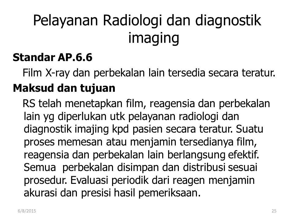 Pelayanan Radiologi dan diagnostik imaging Standar AP.6.6 Film X-ray dan perbekalan lain tersedia secara teratur. Maksud dan tujuan RS telah menetapka