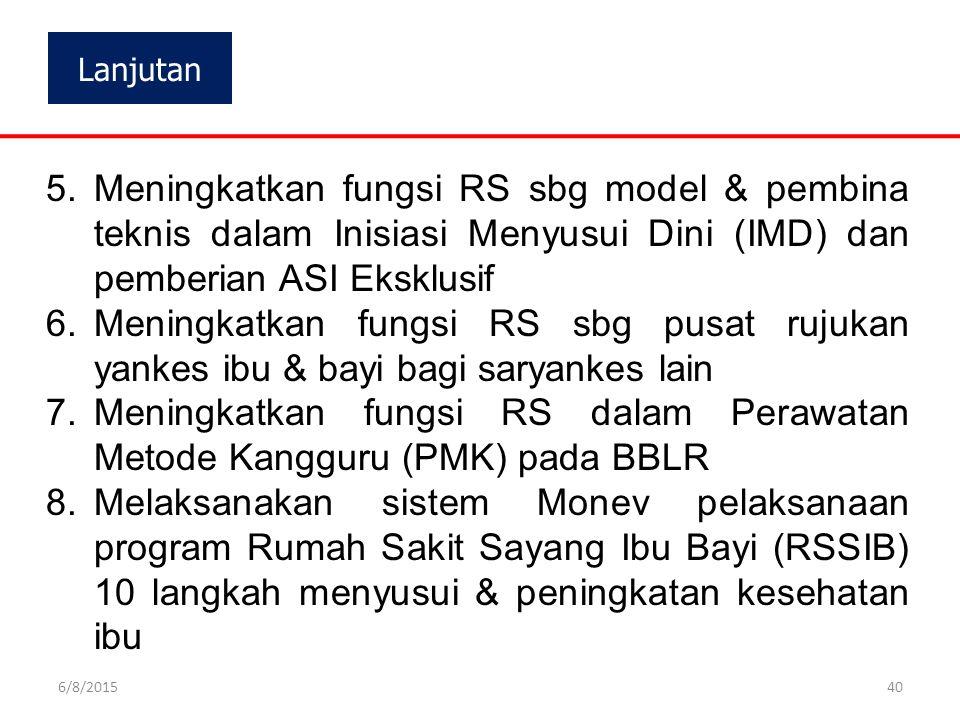 Lanjutan 5.Meningkatkan fungsi RS sbg model & pembina teknis dalam Inisiasi Menyusui Dini (IMD) dan pemberian ASI Eksklusif 6.Meningkatkan fungsi RS s